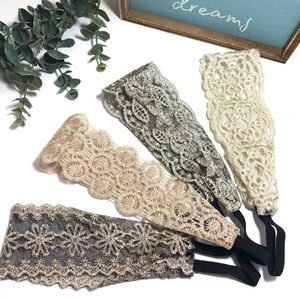 Lot of 4 Lace Stretch Statement Boho Headbands